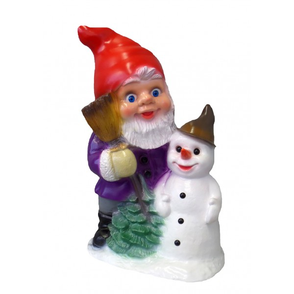 Nain avec Bonhomme de Neige